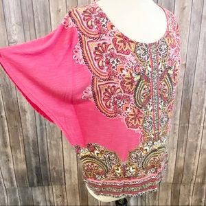 🌼Chico's Flutter Sleeve Pink Boho Casual Blouse